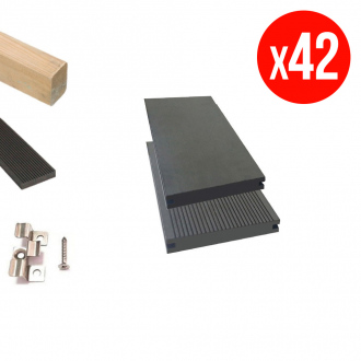 Pack complet de lames de terrasse GREEN OUTSIDE - composites pleines - 15 m² - anthracite