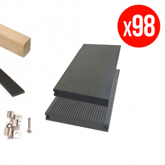 Pack complet de lames de terrasse GREEN OUTSIDE - composites pleines - 35 m² - anthracite