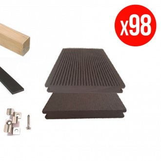Pack complet de lames de terrasse GREEN OUTSIDE - composites pleines - 35 m² - chocolat