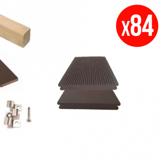 Pack complet de lames de terrasse GREEN OUTSIDE - composites pleines - 30 m² - chocolat