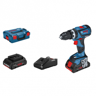 Perceuse à percussion 18V Bosch - 2 bat Li-Ion 4Ah + chargeur + coffret