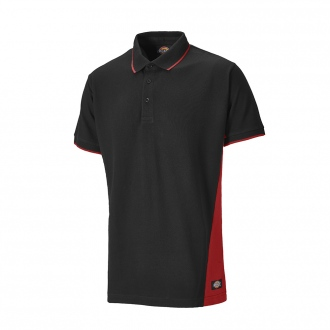 Polo manches courtes TWO TONE - 280 g/m² - noir/rouge