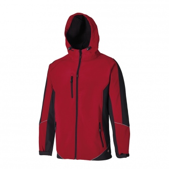 Softshell à capuche TWO TONE - rouge/noir