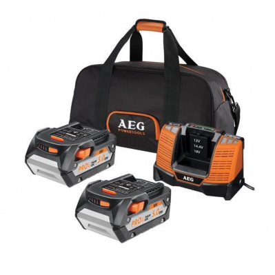 Pack de 2 batteries Pro 18V Li-Ion 5Ah + chargeur & sac