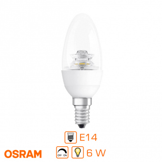 Ampoule LED flamme dimmable - E14 - 6W (équivalent 40W) - Blanc chaud