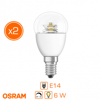 Lot de 2 ampoules LED - E14 - 6 W / 40 W - forme sphérique - blanc chaud - dimmable