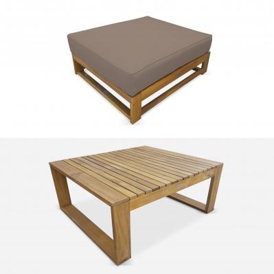 Salon de jardin en bois 5 places - Mendoza - Coussins taupe ...