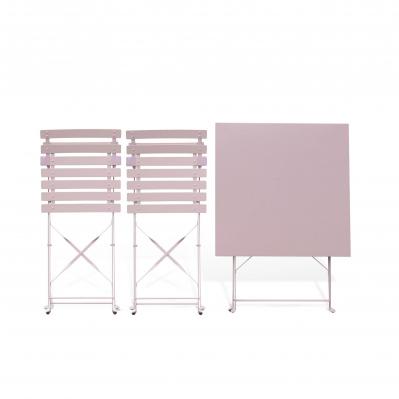 Salon de jardin bistrot pliable Emilia carré rose pale, avec ...
