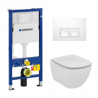Geberit Pack WC Geberit duofix UP100 + Cuvette Ideal Standard Tesi Aquablade + Plaque de commande Delta50 blanche