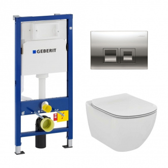 Geberit Pack WC Geberit duofix UP100 + Cuvette Ideal Standard Tesi Aquablade + Plaque de commande Delta50 chrome