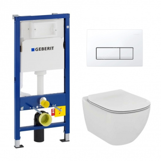 Geberit Pack WC Geberit duofix UP100 + Cuvette Ideal Standard Tesi Aquablade + Plaque de commande Delta51 Blanche