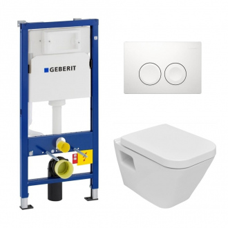 Pack WC Geberit duofix UP100 + Cuvette Diagonal + Plaque de commande Delta 21 blanche