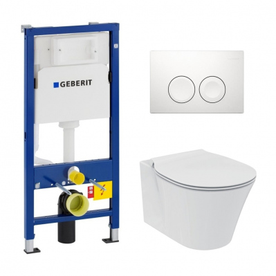 Pack WC Geberit duofix UP100 + Cuvette Ideal Standard Connect Air + Plaque de commande Delta 21 blanche