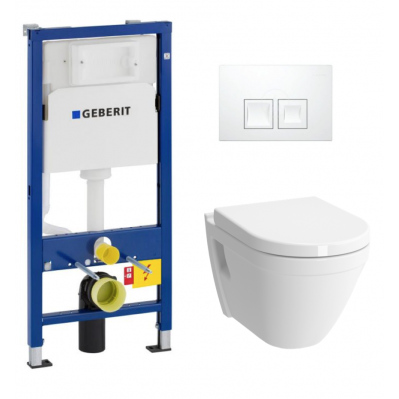Pack WC GEBERIT DuofixBasic + VITRA Cuvette S50 RimEx avec abattant softclose (S50rimless-GEB1-BP)