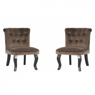 Lot de 2 fauteuils crapaud en velours - Marron
