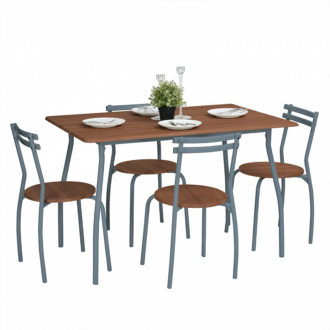 Ensemble table et 4 chaises design industriel - Marron