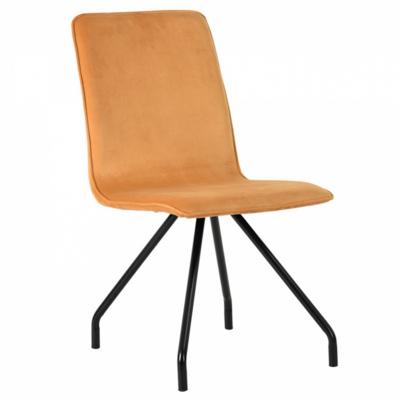 Lot de 2 chaises de salon en velours avec pieds design - Jaune
