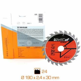 Lame de scie professionnelle Wellcut Extreme - Ø190 x 2,4 x 30 mm - 24 dents