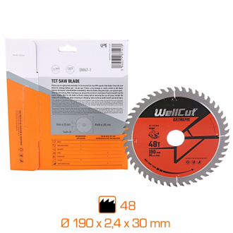 Lame de scie professionnelle Wellcut Extreme - Ø190 x 2,4 x 30 mm - 48 dents