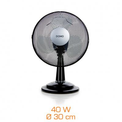 Ventilateur de table - 40 W - Ø 30 cm - 3 vitesses - 47 cm - noir
