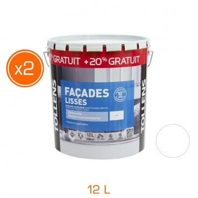 Lot de 2 pots de peinture façade lisse - monocouche mat - 12 L - Blanc