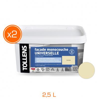 Lot de 2 pots de peinture façade universelle - monocouche mat velouté - 2,5 L - Pierre