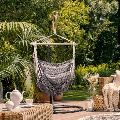 Hamac chaise en toile et corde HERAKLION - bois et polycoton épais