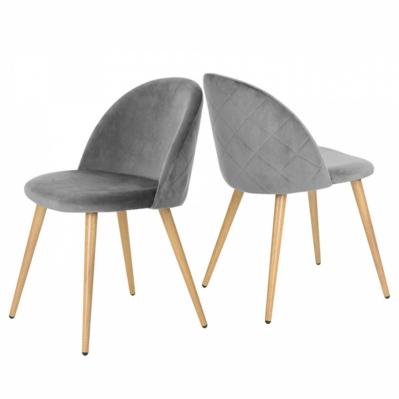 Lot de 2 chaises d'appoint en velours - Gris clair